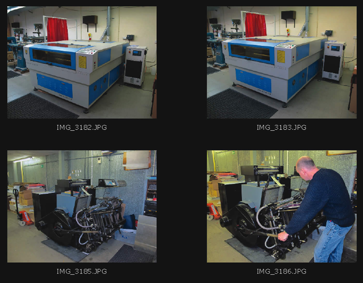 Example of a contact sheet for image use selection